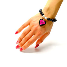 Load image into Gallery viewer, BRACCIALE MINI LOVE LOCKED NERO FUCSIA - malikaforhappypeople