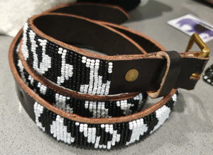 KENYAN BEADED LEATHER BELT: BLACK & WHITE
