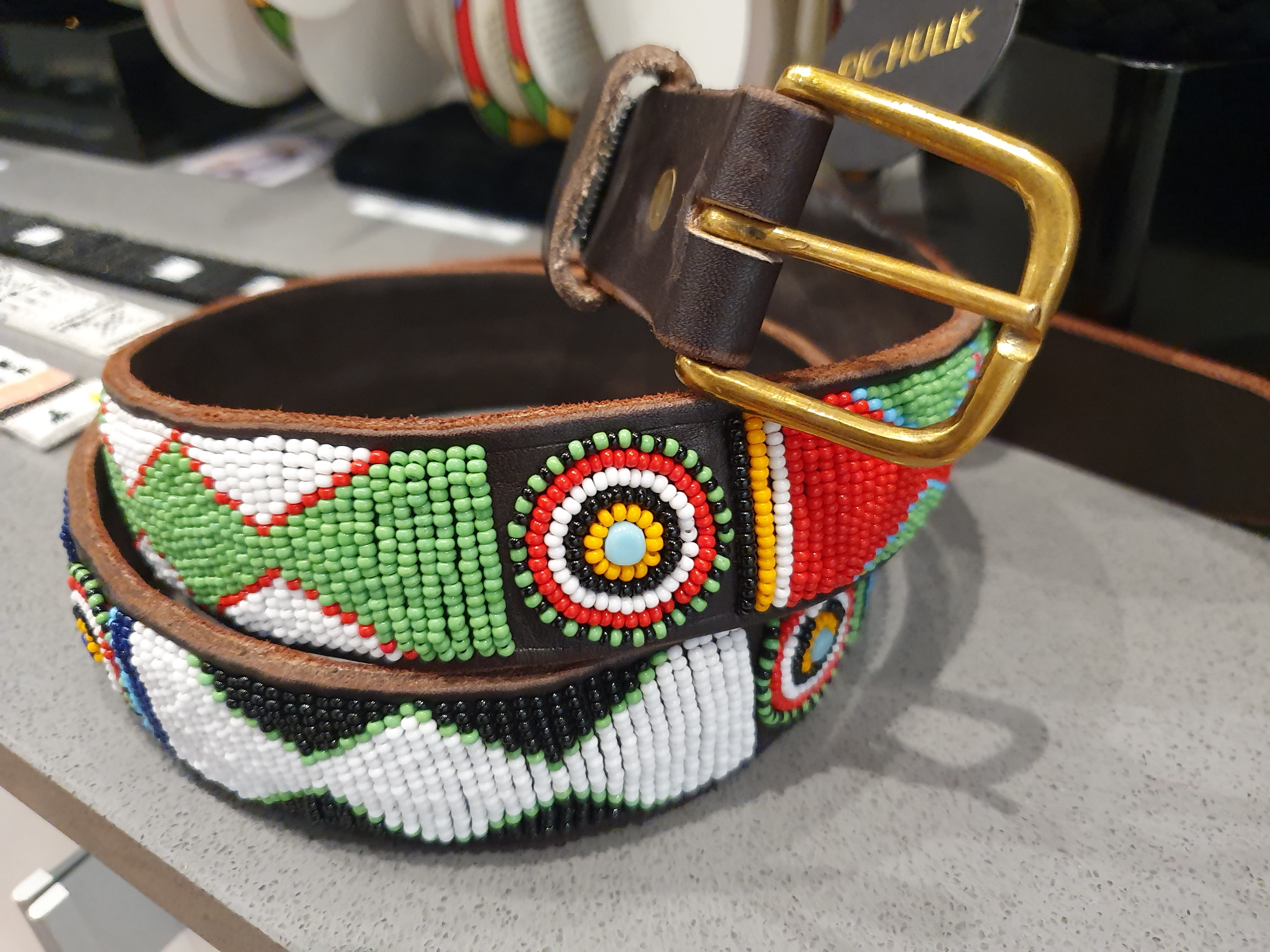 KENYAN BEADED LEATHER BELT: AFRICAN BRIGHTS