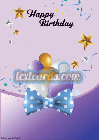 Birthday Balloons And Bow Textcard