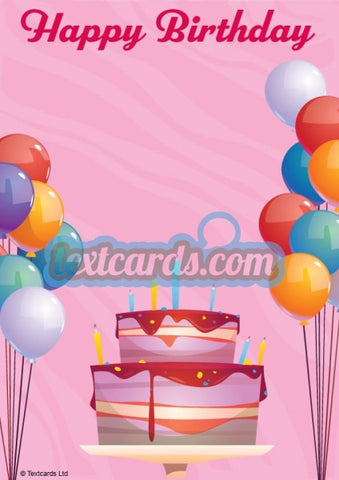 Birthday Cake And Balloons Textcard
