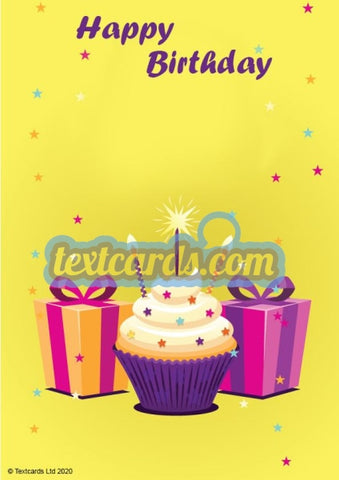 Birthday Cake And Gifts Textcard