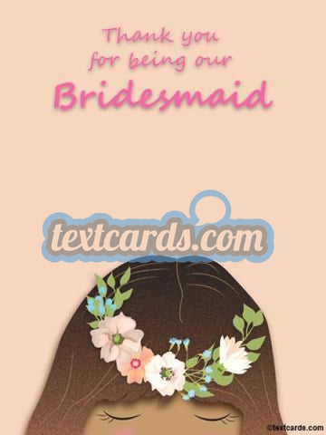 Bridesmaid Thank You Textcard