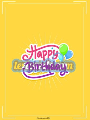 Happy Birthday Burst Textcard