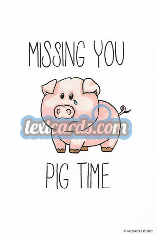 Missing You Pig Time. Textcard