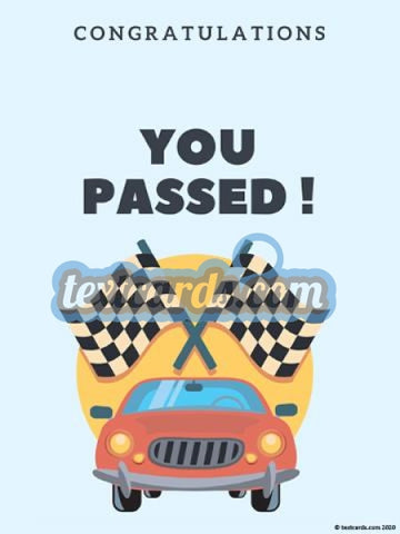 Passed Driving Test Textcard