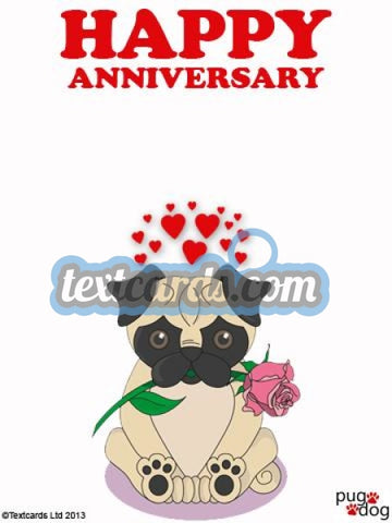 Pug Dog Happy Anniversary Textcard