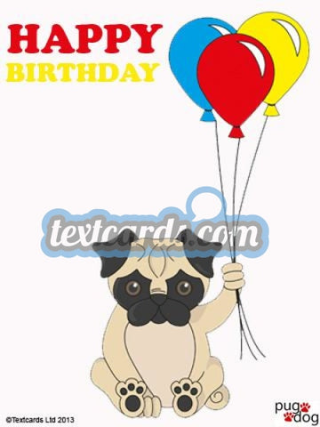 Pug Dog Happy Birthday Textcard
