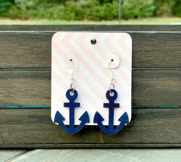 Leather Anchor Earrings