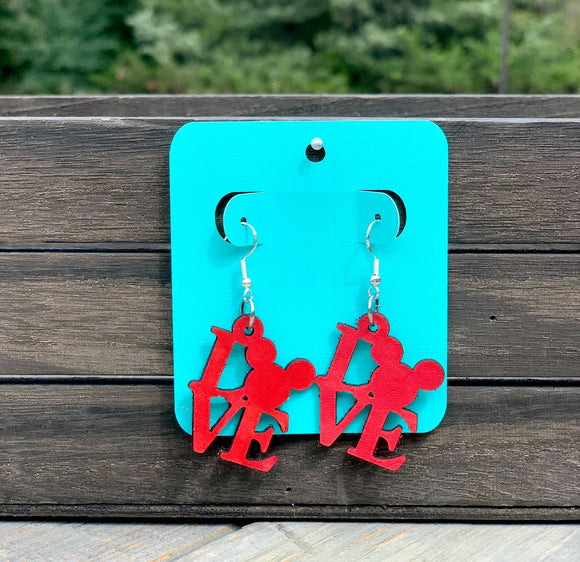 Leather Mickey Love Earrings
