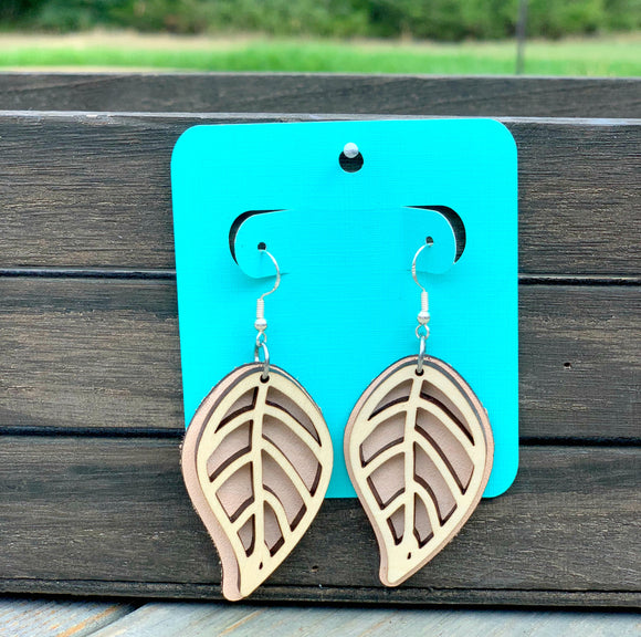 Stacked Wood + Leather Leaf Earrings