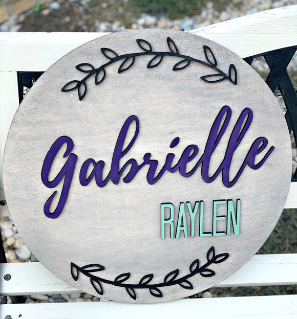 Personalized Wood Round Name Sign