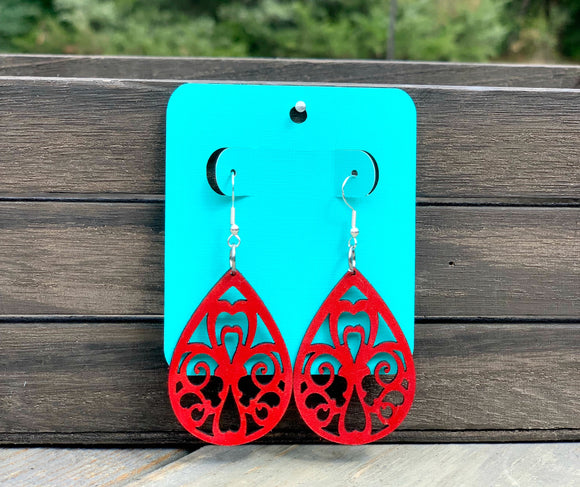 Leather Scroll Cross Earrings