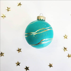 Teal and Gold Marble Ornament