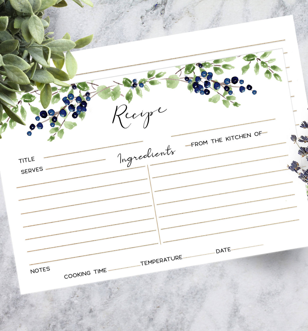Printed Recipe Cards - Blueberry