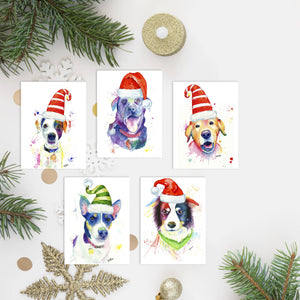 5 Pack Christmas Dog Cards