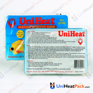 UniHeat 20 hour back side view of shipping warmer packaging.