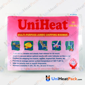 UniHeat 60 hour front side view of shipping warmer packaging.