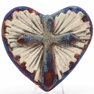 Cross Raku Pottery Blessed Heart