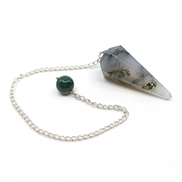 Light Moss Agate Pendulum