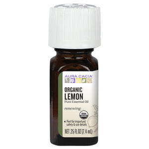 Aura Cacia Organic Lemon Essential Oil 0.25 fl. oz.