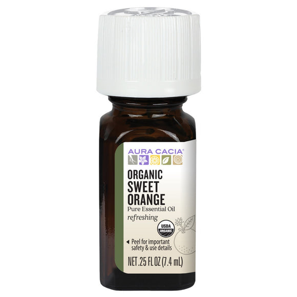 Aura Cacia Organic Sweet Orange Essential Oil 0.25 fl. oz.