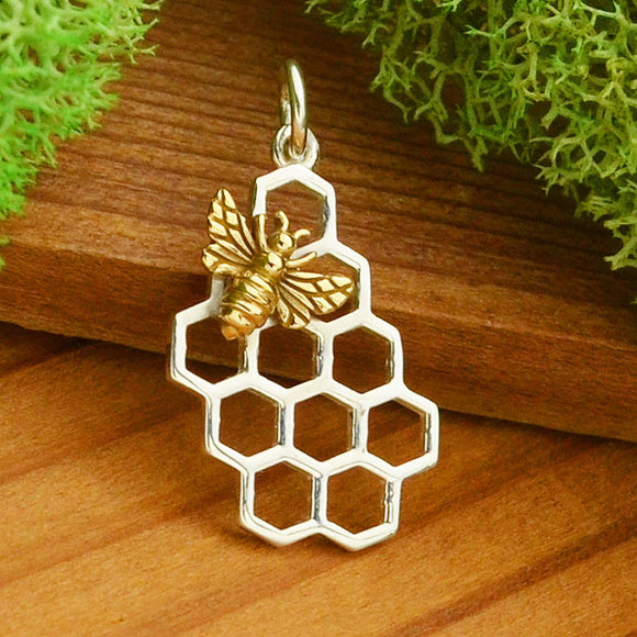 Sterling Honeycomb with Bronze Bee