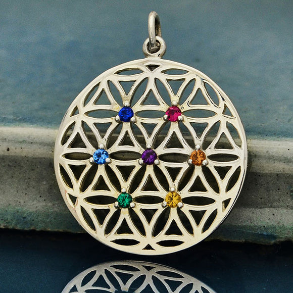 Silver Flower of Life Pendant with Chakra Crystals