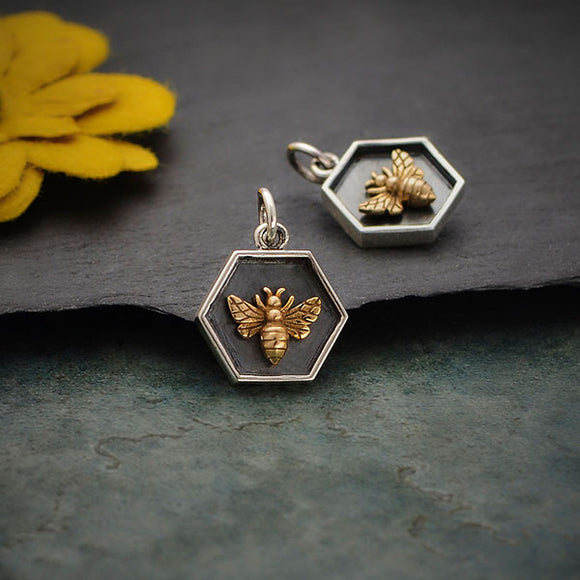 Sterling Silver Hexagon Charm with Bronze Bee