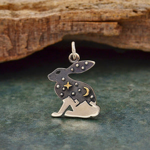 Sterling Silver Hare Charm with Bronze Star and Moon