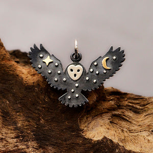 Sterling Silver Owl Charm with Bronze Star and Moon