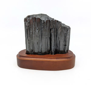 Black Tourmaline Crystal on Wooden Base