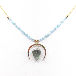 Labradorite with Blue Topaz Crescent Moon Necklace