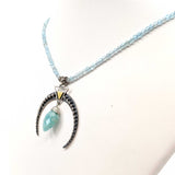Amazonite and Blue Topaz Crescent Moon Necklace