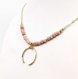 Pink Opal Crescent Moon Necklace