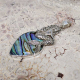Mermaid on Abalone Shell Sterling Silver Pendant