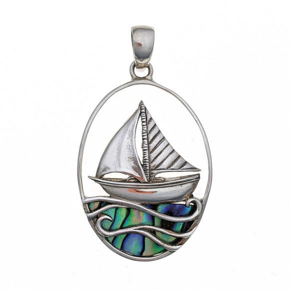 Sailboat with Abalone Shell Sterling Silver Pendant
