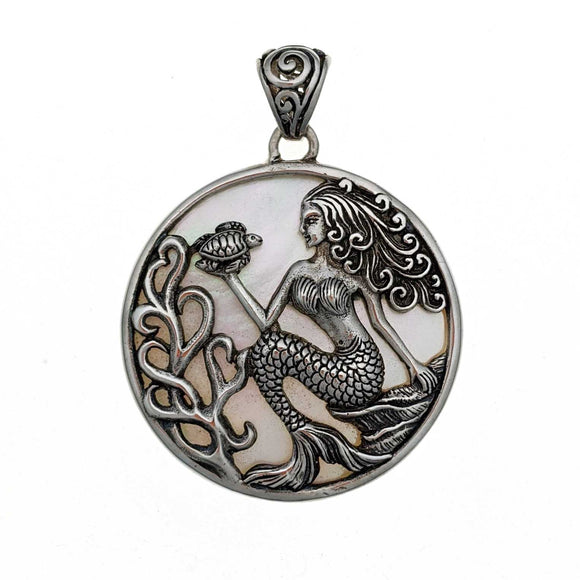 Mermaid with Mother of Pearl Sterling Silver Pendant