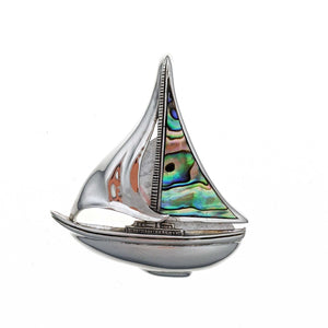 Sailboat with Abalone Shell Sails Sterling Silver Pendant