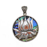 Lotus with Abalone Shell Sterling Silver Pendant