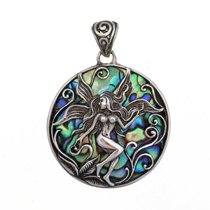 Faerie with Abalone Shell Sterling Silver Pendant