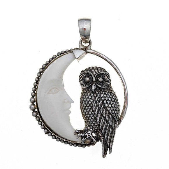 Owl in the Moon Sterling Silver Pendant
