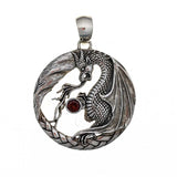 Dragon with Garnet Sterling Silver Pendant