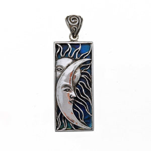 Sun and Moon on Abalone Shell Sterling Silver Pendant