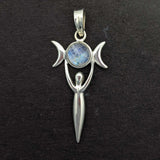 Moon Goddess with Rainbow Moonstone Sterling Silver Pendant