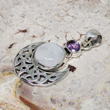 Rainbow Moonstone and Amethyst Sterling Silver Pendant
