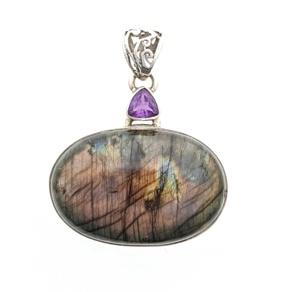 Labradorite with Amethyst Sterling Silver Pendant