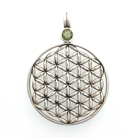 Moldavite Flower of Life Sterling Silver Pendant