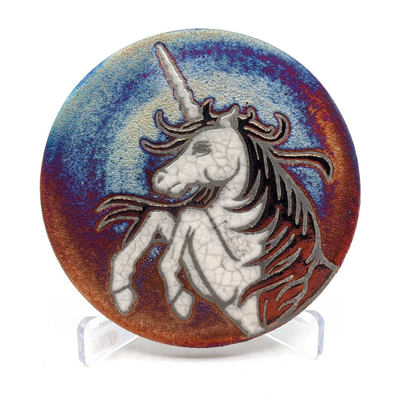Unicorn Raku Pottery Coaster