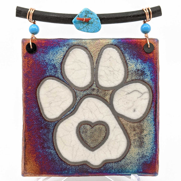 Raku Dreamcatcher Tile - Paw
